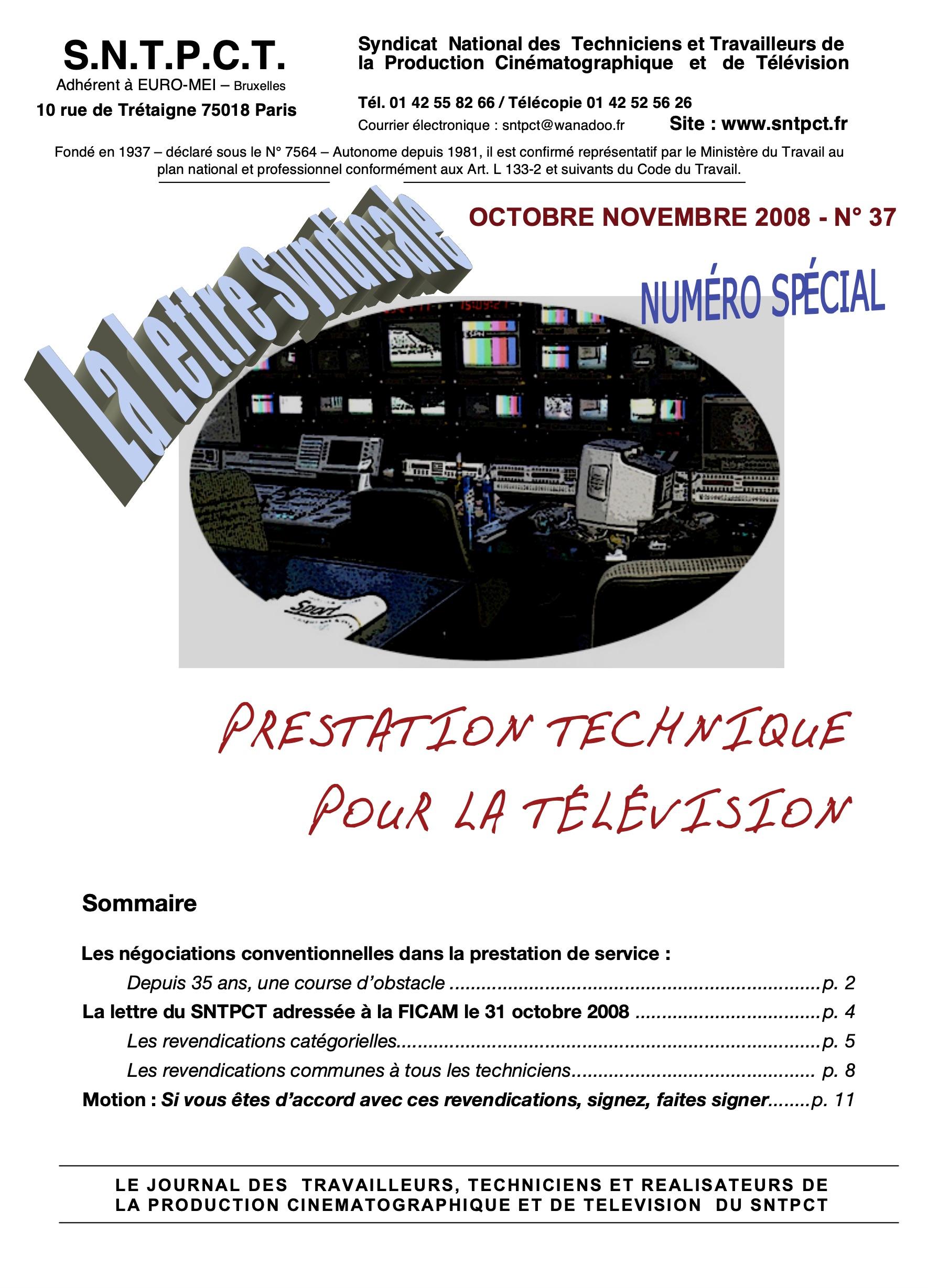 Lettre octobre novembre 2008 n37
