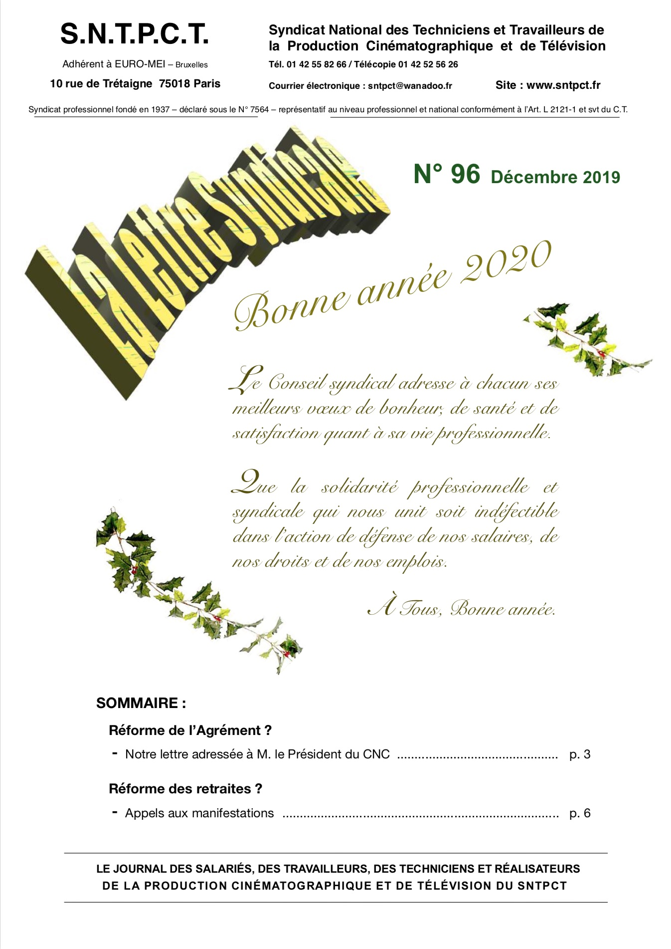 Lettre décembre 2019 n96