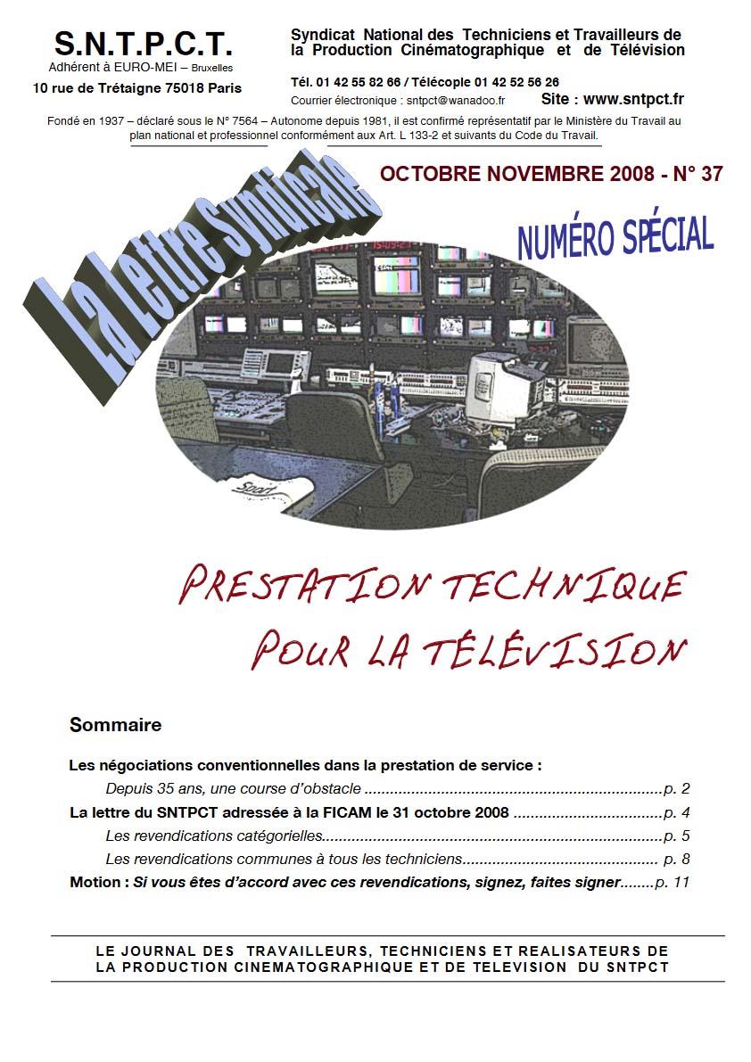 Lettre octobre novembre 2008